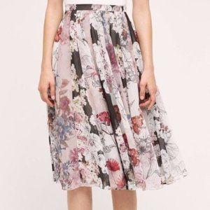 Anthropologie Varun Bahl Floral Chiffon Midi Skirt